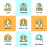 Linea icone di professione della gente messe Fotografia Stock
