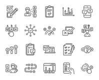 Linea icone di rapporto o di indagine Insieme dell'opinione, soddisfazione del cliente Vettore illustrazione di stock