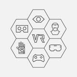 Linea icone di realtà virtuale Immagini Stock