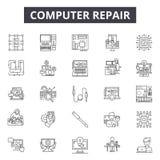 Linea icone di riparazione del computer per il web e la progettazione mobile Segni editabili del colpo Concetto del profilo di ri royalty illustrazione gratis
