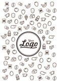 Linea icone di scarabocchio dell'alimento Fotografie Stock