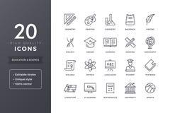 Linea icone di scienza e di istruzione Fotografie Stock Libere da Diritti