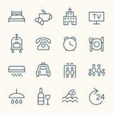 Linea icone di servizi degli esercizi alberghieri Fotografia Stock