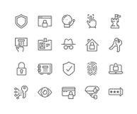 Linea icone di sicurezza Fotografie Stock