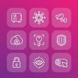 Linea icone di sicurezza messe Immagine Stock Libera da Diritti