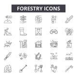 Linea icone di silvicoltura per il web e la progettazione mobile Segni editabili del colpo Illustrazioni di concetto del profilo  illustrazione vettoriale