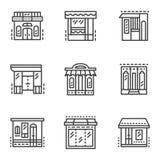 Linea icone di stanze frontali di negozio Immagini Stock
