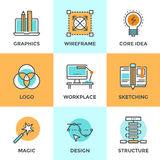 Linea icone di sviluppo di progettazione messe illustrazione vettoriale
