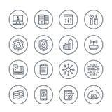Linea icone di tecnologia e di comunicazione su bianco royalty illustrazione gratis