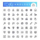 Linea icone di tecnologia messe Fotografia Stock Libera da Diritti