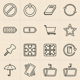 Linea icone di vendita di Digital Fotografie Stock
