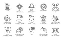 Linea icone di verifica biometrica di identità royalty illustrazione gratis