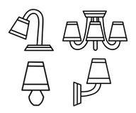 Linea icone di vettore con i vari candelieri moderni Pittogrammi di progettazione semplice Fotografia Stock
