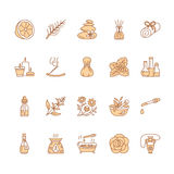 Linea icone di vettore di aromaterapia degli oli essenziali messe Elementi - diffusore di terapia dell'aroma, bruciatore a nafta, Immagine Stock