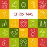 Linea icone di vettore di Art Modern Merry Christmas Holiday messe Fotografia Stock