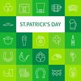 Linea icone di vettore di Art Modern Saint Patrick Day messe Immagine Stock