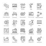 Linea icone 17 di vettore di crescita e della gestione di impresa Immagine Stock