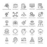 Linea icone 24 di vettore di crescita e della gestione di impresa illustrazione vettoriale