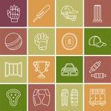 Linea icone di vettore di gioco di sport del cricket Palla, pipistrello, wicket, casco, guanti del battitore Segni lineari messi, Fotografia Stock Libera da Diritti