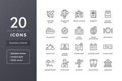 Linea icone di viaggio Fotografia Stock