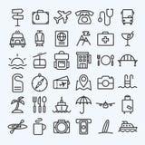 linea icone di viaggio messe Fotografia Stock Libera da Diritti