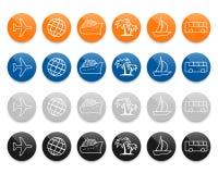 Linea icone di viaggio di vettore messe illustrazione di stock