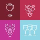 Linea icone e logos del vino di vettore Fotografia Stock