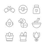 Linea icone messe delle icone della medicina alternativa Immagine Stock