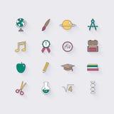 Linea icone messe nella progettazione piana Elementi della scuola e dell'istruzione Fotografie Stock