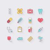 Linea icone messe nella progettazione piana Elementi di medicina, salute, hos illustrazione di stock