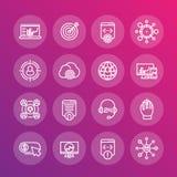 Linea icone messe, ottimizzazione di Seo del motore di ricerca Fotografia Stock Libera da Diritti