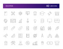 Linea icone messe Pacchetto di istruzione Fotografie Stock Libere da Diritti