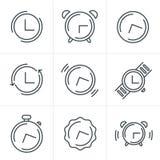 Linea icone messe, progettazione dell'orologio marcatempo delle icone di vettore Immagine Stock Libera da Diritti