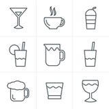 Linea icone messe, progettazione della bevanda di stile delle icone di vettore Fotografia Stock Libera da Diritti