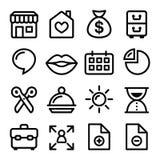 Linea icone - negozio online, pagina Web di navigazione del menu del sito Web Fotografia Stock Libera da Diritti