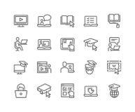 Linea icone online di istruzione illustrazione vettoriale