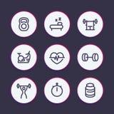 Linea icone, palestra, allenamento di forma fisica, preparantesi Fotografie Stock