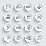 Linea icone, segheria, attrezzatura della registrazione di silvicoltura illustrazione di stock