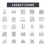 Linea icone, segni, insieme di vettore, concetto dell'eredità dell'illustrazione del profilo illustrazione vettoriale