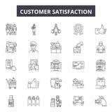 Linea icone, segni, insieme di vettore, concetto di soddisfazione del cliente dell'illustrazione del profilo illustrazione vettoriale