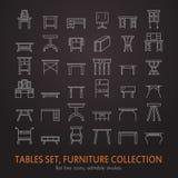 Linea icone, simboli della mobilia di vettore della tavola siluetta della tavola differente - cena, scrittura, tavola di condimen Fotografia Stock