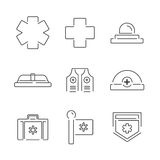 Linea icone stabilite dell'attrezzatura medica dell'ambulanza delle icone Immagine Stock