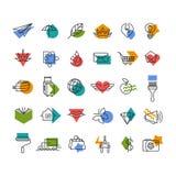 Linea icons& x27 di vettore; metta con gli accenti geometrici Immagine Stock Libera da Diritti