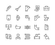 Linea idraulico Icons Fotografia Stock Libera da Diritti