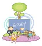 Linea illustrazione degli studenti dei bambini & dell'aula del carattere Immagini Stock Libere da Diritti