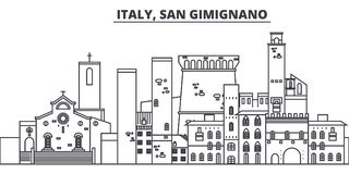 Linea illustrazione dell'Italia, San Gimignano di vettore dell'orizzonte Paesaggio urbano lineare con i punti di riferimento famo illustrazione di stock