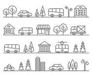 Linea illustrazione della città Paesaggio urbano di vettore Fotografia Stock Libera da Diritti