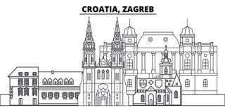 Linea illustrazione della Croazia, Zagabria di vettore dell'orizzonte Paesaggio urbano lineare con i punti di riferimento famosi, Fotografia Stock