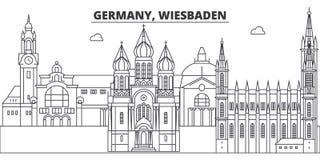 Linea illustrazione della Germania, Wiesbaden di vettore dell'orizzonte Paesaggio urbano lineare con i punti di riferimento famos illustrazione vettoriale