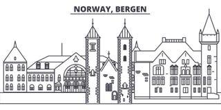 Linea illustrazione della Norvegia, Bergen di vettore dell'orizzonte Paesaggio urbano lineare con i punti di riferimento famosi,  illustrazione di stock